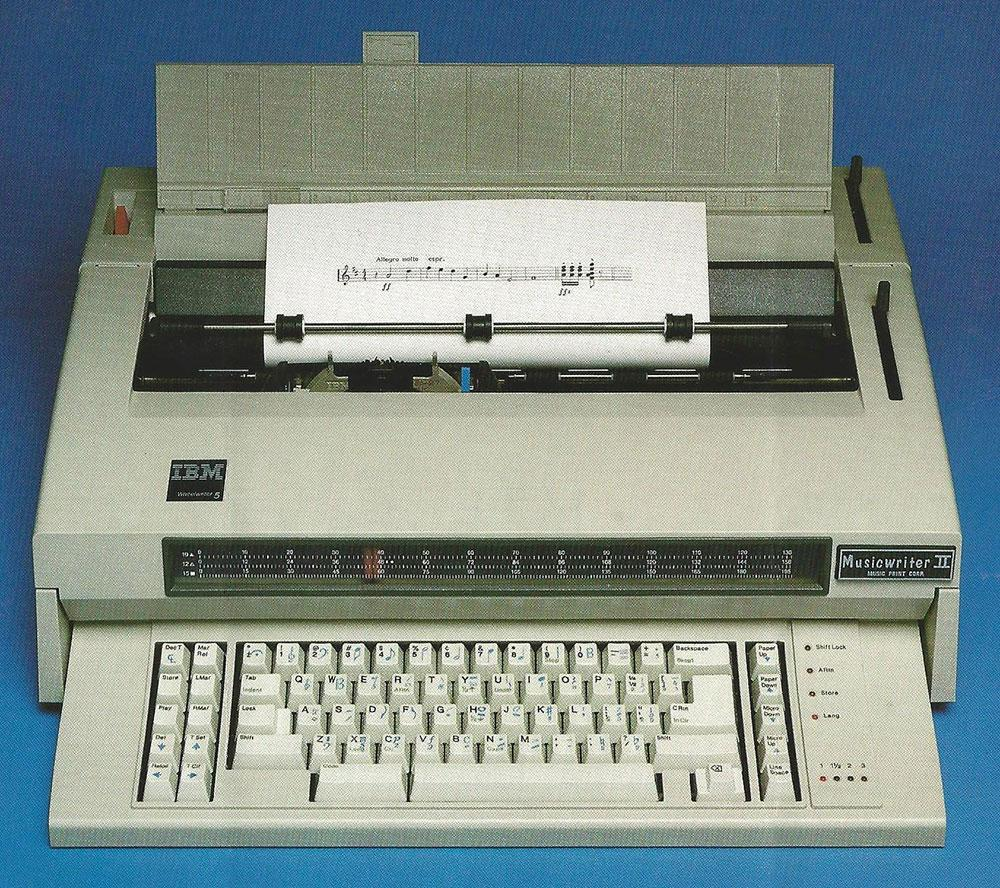 The image is taken from the back of an information document about the Musicwriter II.