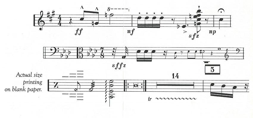 Music printed with the Musicwriter II.